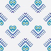 vector seamless pattern with owl, birds, background