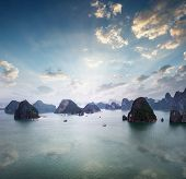Panoramic aerial view of Halong Bay in Vietnam at early sunrise. Amazing nature landscape background