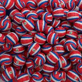 Costa Rica Football Balls (many). 3D Render Background