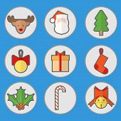 Flat Christmas Set Icon