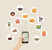 Food background - food blogging, reading about food, searching for recipes or ordering food online. Flat design style.