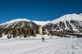 pic of engadine  - a man skiing  on the Engadin mountains - JPG