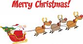 Merry Christmas Greeting With Santa Claus In Flight With His Reindeer And Sleigh