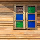 Wooden Window With Colored Glass