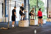 Group of athletes practicing box jumps at gym