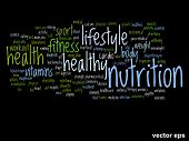 Vector concept or conceptual abstract nutrition and health word cloud or wordcloud on black background