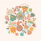 Hand drawn vintage floral background. Set of flowers and plants.