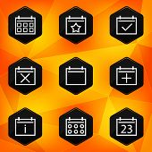 Calenadar. Hexagonal icons set on abstract orange background