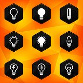 Bulbs. Hexagonal icons set on abstract orange background