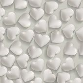 Seamless romantic white hearts valentines vector background