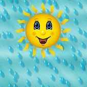 Happy sun smiling on rainy blue sky