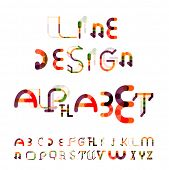 Minimal line segments design alphabet, font, typeface isolated on white.