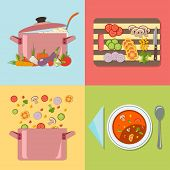 Cooking. Four stages of preparing vegetable soup