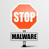detailed illustration of a red stop Malware sign, eps10 vector