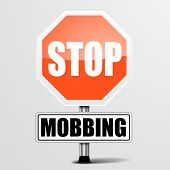 foto of stop bully  - detailed illustration of a red stop Mobbing sign - JPG