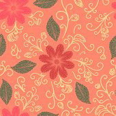 Seamless flower, plant vector pattern background.