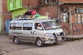 Minibus in Tiquina, Bolivia
