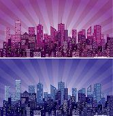 vector abstract cityscape with purple sun burst