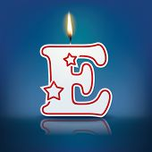 Candle letter E with flame - eps 10 vector illustration