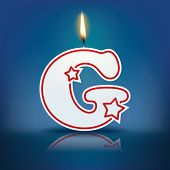 Candle letter G with flame - eps 10 vector illustration