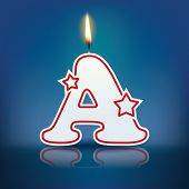 Candle letter A with flame - eps 10 vector illustration