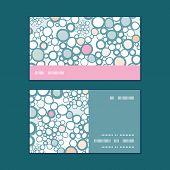 Vector colorful bubbles horizontal stripe frame pattern business cards set