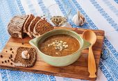 Spicy Vegetarian Soup With Mushrooms, Pumpkin And Onions