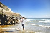 Beautiful Happy Couple Together Embracing On The Beach, Sperlonga, Italy