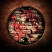 brick wall background with hole