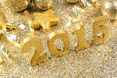 Golden 2015 New Years Eve decor