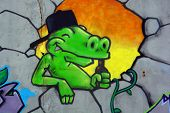 Street art Montreal croco beer drinker