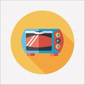 Kitchenware Oven Flat Icon With Long Shadow