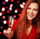 woman with champagne