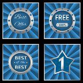 Blue silver labels