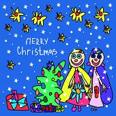 Children's Drawing. Christmas Card