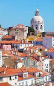 Lisbon view of Alfam's region and Santa Engrassiya's (Pantheon) church