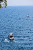 two ships in mediterrian sea near shore of Anatolya