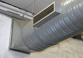 Steel Pipe Of Air Conditioning And Heating In A Factory