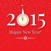 2015 New Years Background With Clock And Snowfall