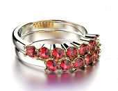 Golden wedding Rings with Garnet. Jewelry background