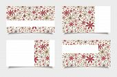 Business cards with red and beige flowers. Vector eps-10.