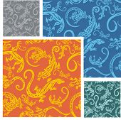 Lizards - seamless pattern set.
