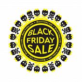 Black Friday Sale scull circle icon. White background.