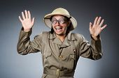 picture of safari hat  - Funny safari hunter against background - JPG