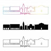 Bergamo Skyline Linear Style With Rainbow