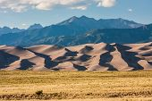 Sand Dunes and Mountains