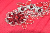 foto of applique  - red material with flowers applique  - JPG