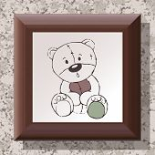 Wooden Frame On Textured Wall With Teddy Bear Drawing