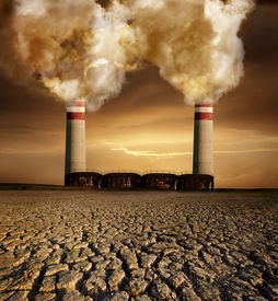 stock photo of noise pollution  - Global pollution caused by industry and resulting destruction - JPG