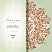 stock photo of announcement  - Vector card with round floral pattern - JPG